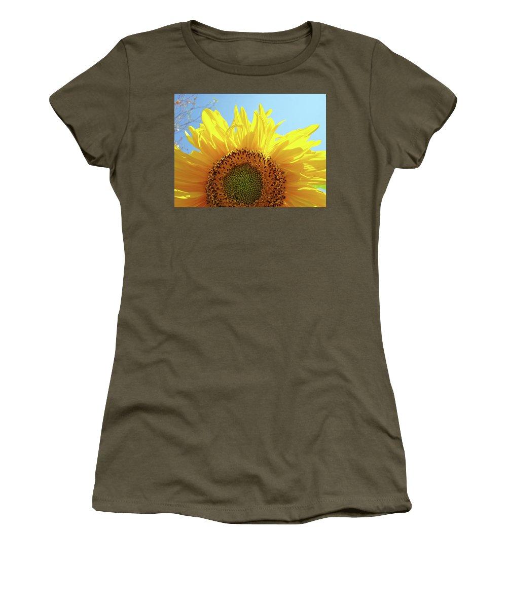 Sunflower Women's T-Shirt featuring the photograph Sunflower Sunlit Sun Flowers Giclee Art Prints Baslee Troutman by Baslee Troutman