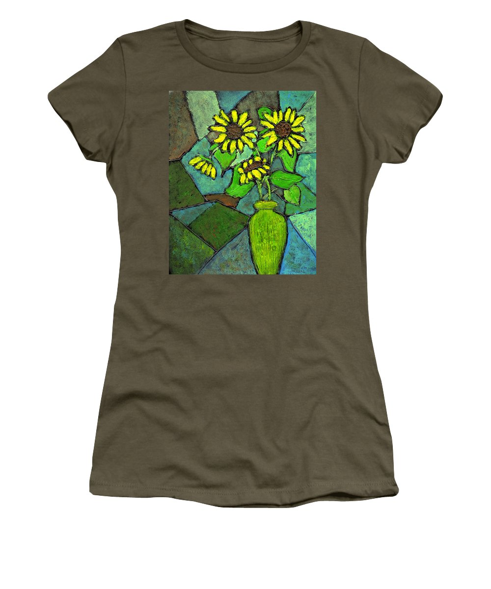 Sunflowers Women's T-Shirt (Athletic Fit) featuring the painting Sunflowers In Vase Green by Wayne Potrafka