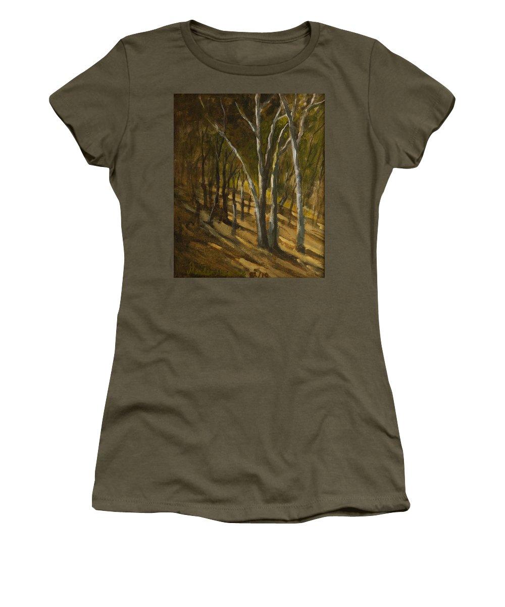 Landscape Women's T-Shirt featuring the painting Sunlit Slopes by Mandar Marathe