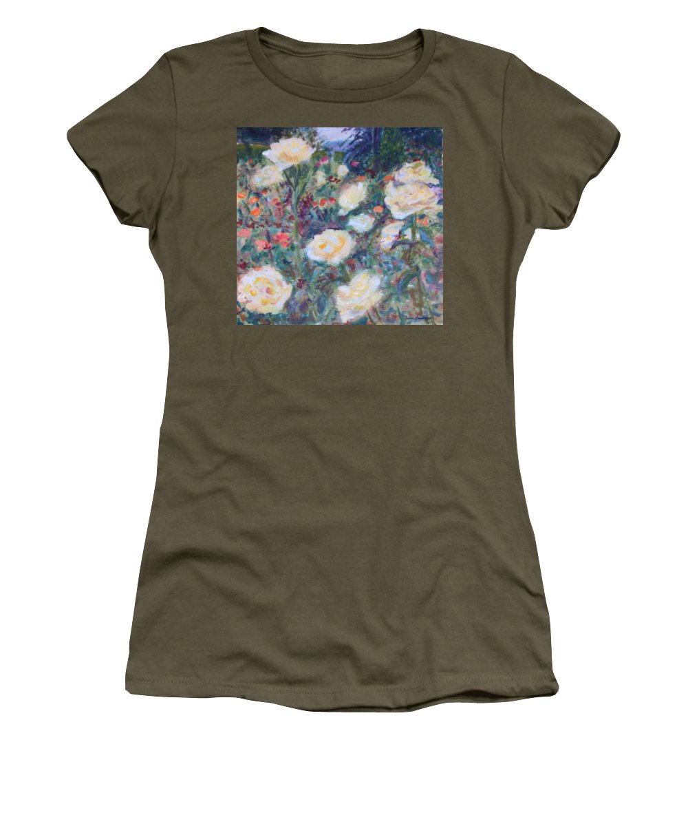 Quin Sweetman Women's T-Shirt featuring the painting Sunny Day At The Rose Garden by Quin Sweetman
