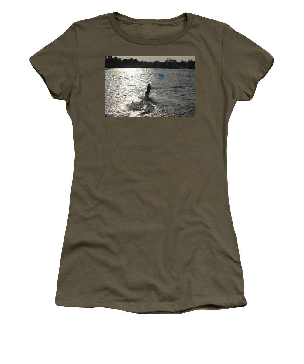 Sun Women's T-Shirt featuring the photograph Sunny Ski by Rob Hans