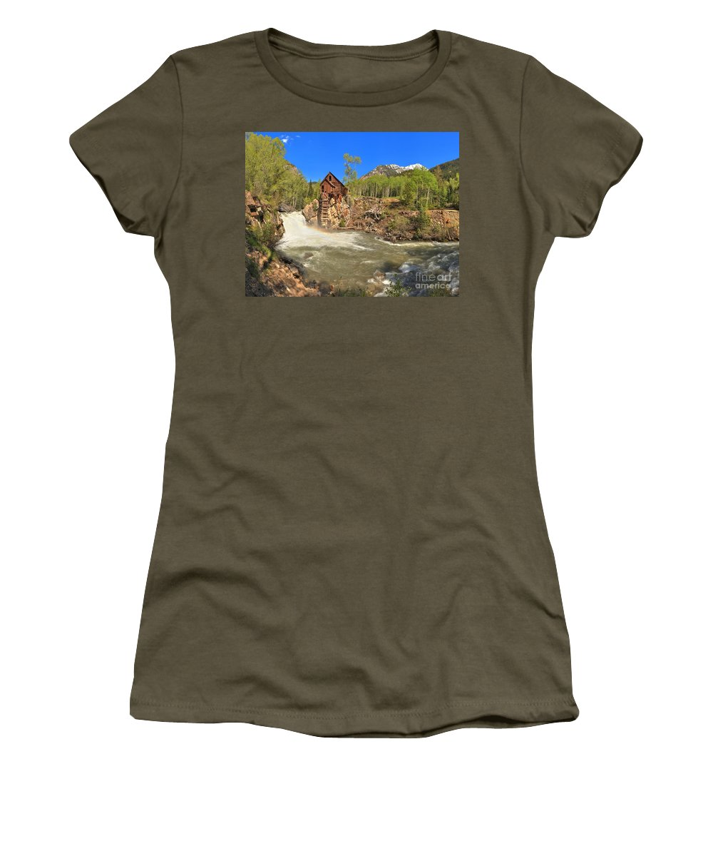 Crystal Mill Women's T-Shirt featuring the photograph Sunny Skies Over The Crystal Mill by Adam Jewell