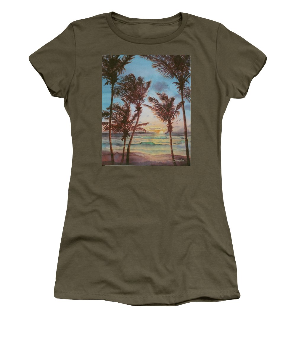 Coconut Tree Women's T-Shirt (Athletic Fit) featuring the painting Sunrise At Cattlewash 3 by Deborah Younglao