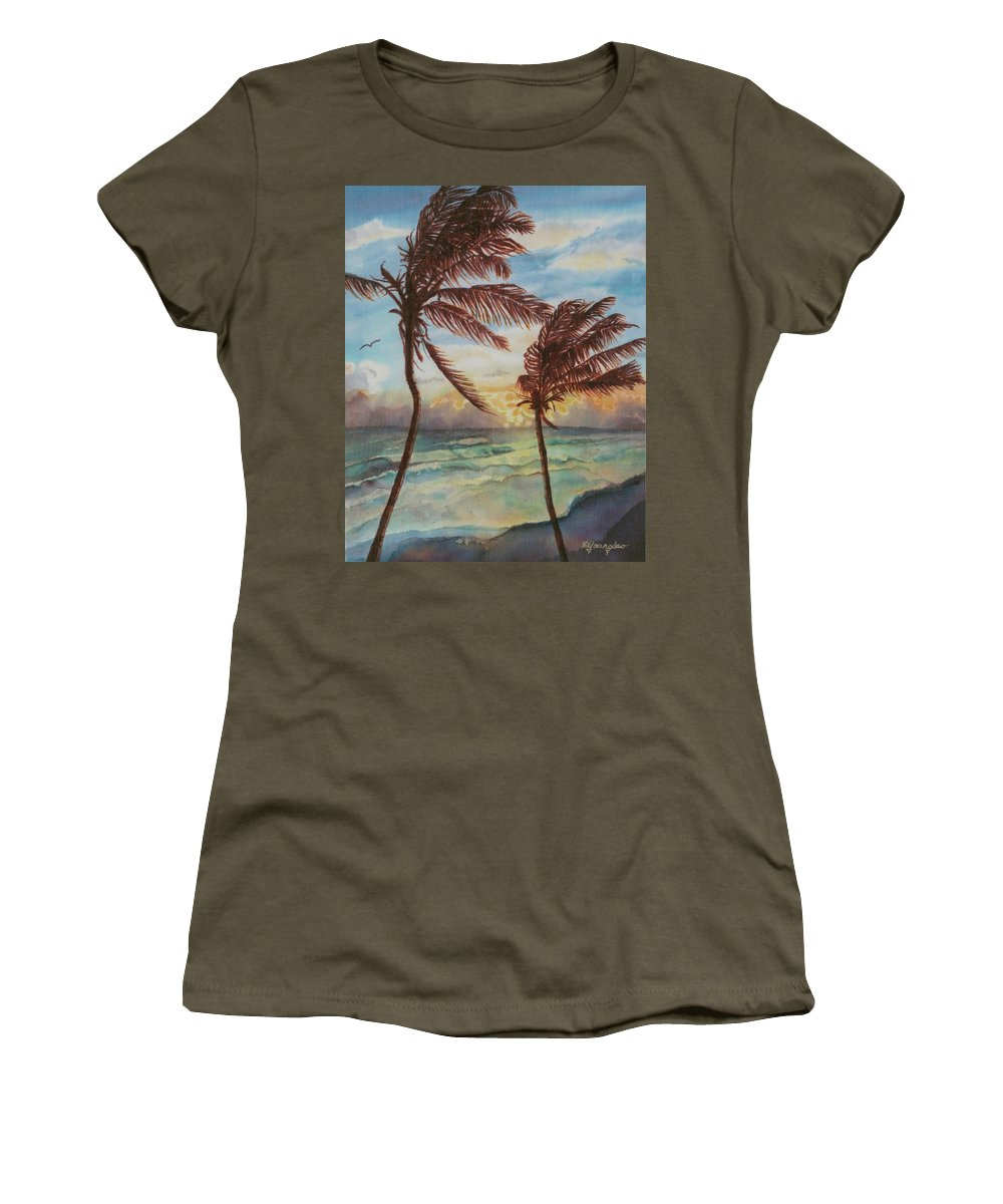 Coconut Tree Women's T-Shirt featuring the painting Sunrise At Cattlewash 4 by Deborah Younglao
