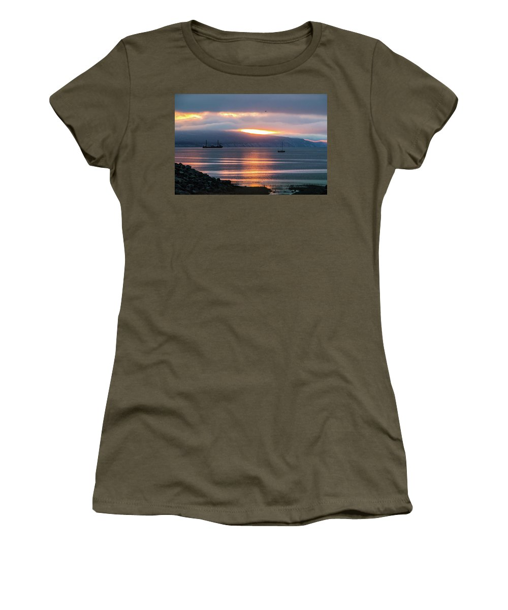 Alaska Women's T-Shirt (Athletic Fit) featuring the photograph Sunrise Over Kachemak Bay by Edie Ann Mendenhall