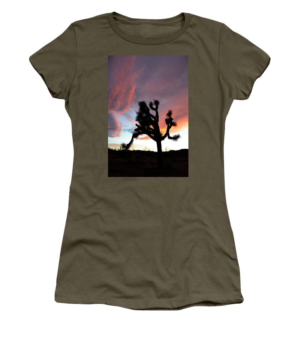 Joshua Tree National Park Women's T-Shirt featuring the photograph Sunset At Joshua Tree 2 by Bob Christopher