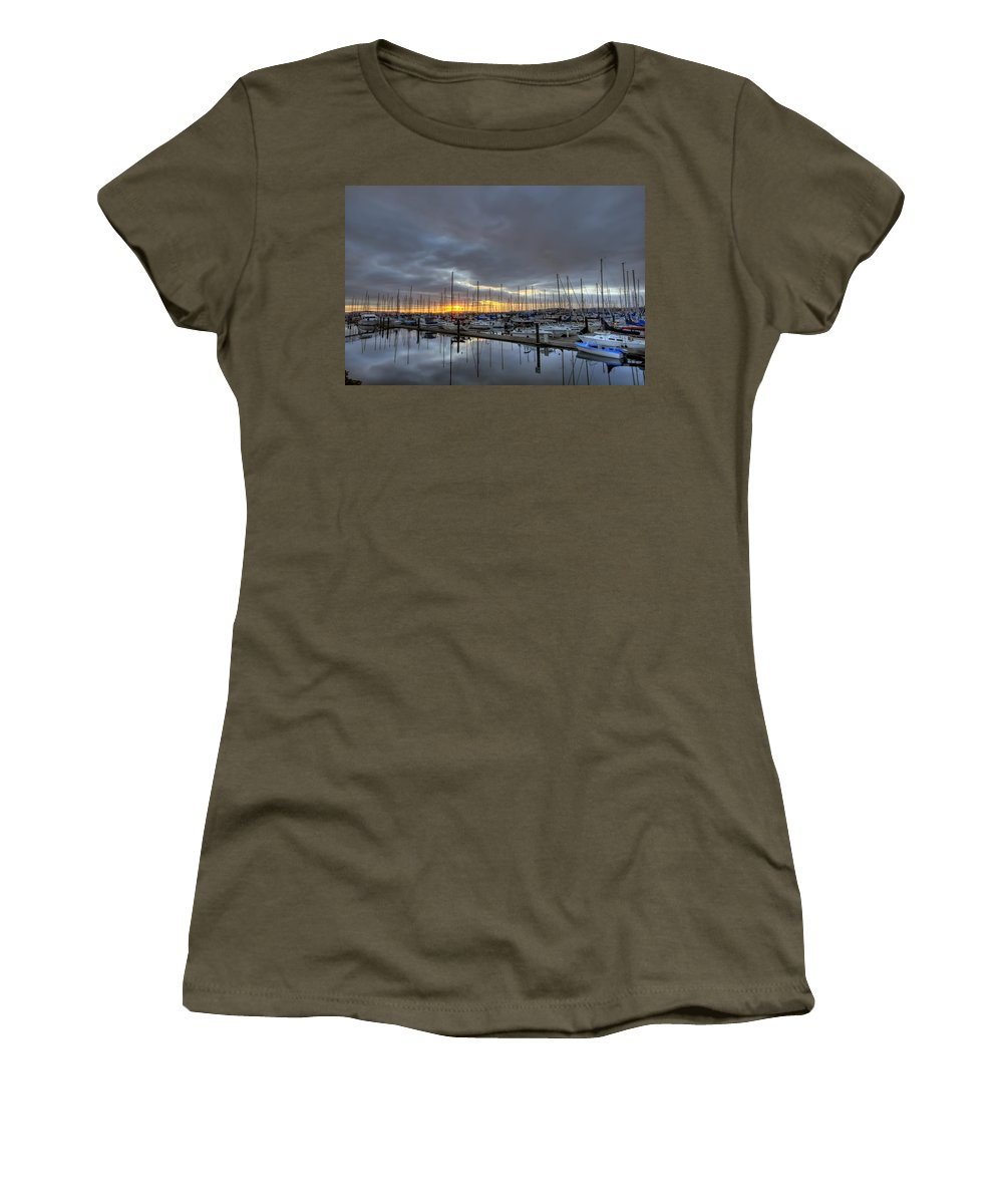 Hdr Women's T-Shirt featuring the photograph Sunset At Port Gardner by Brad Granger