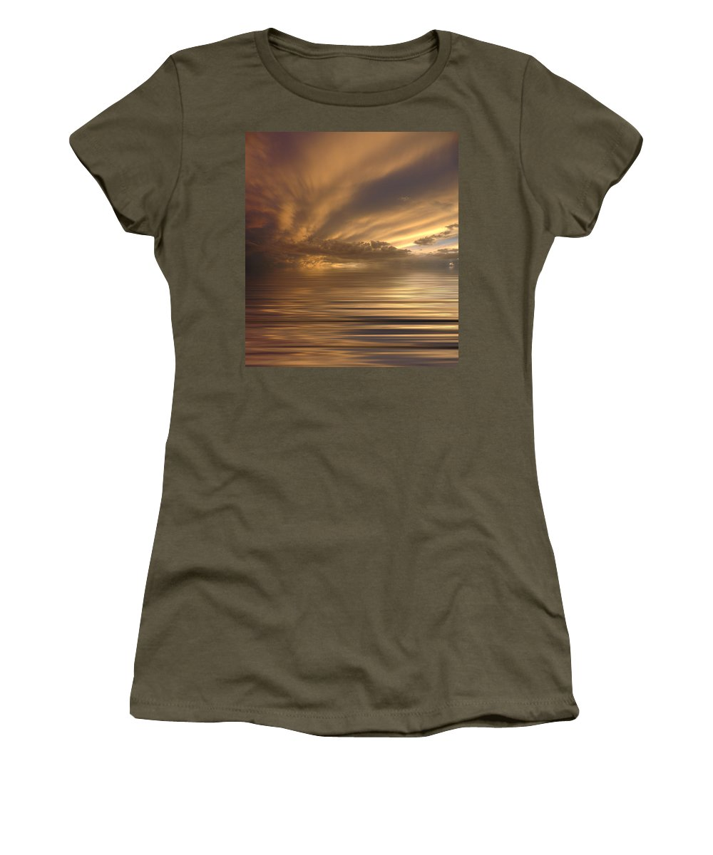 Sunset Women's T-Shirt featuring the photograph Sunset At Sea by Jerry McElroy