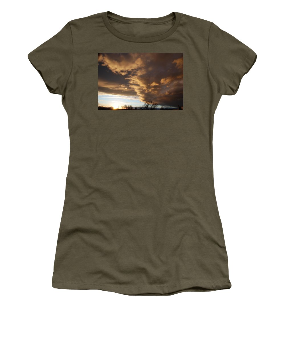 Sunset Women's T-Shirt (Athletic Fit) featuring the photograph Sunset At The New Mexico State Capital by Rob Hans