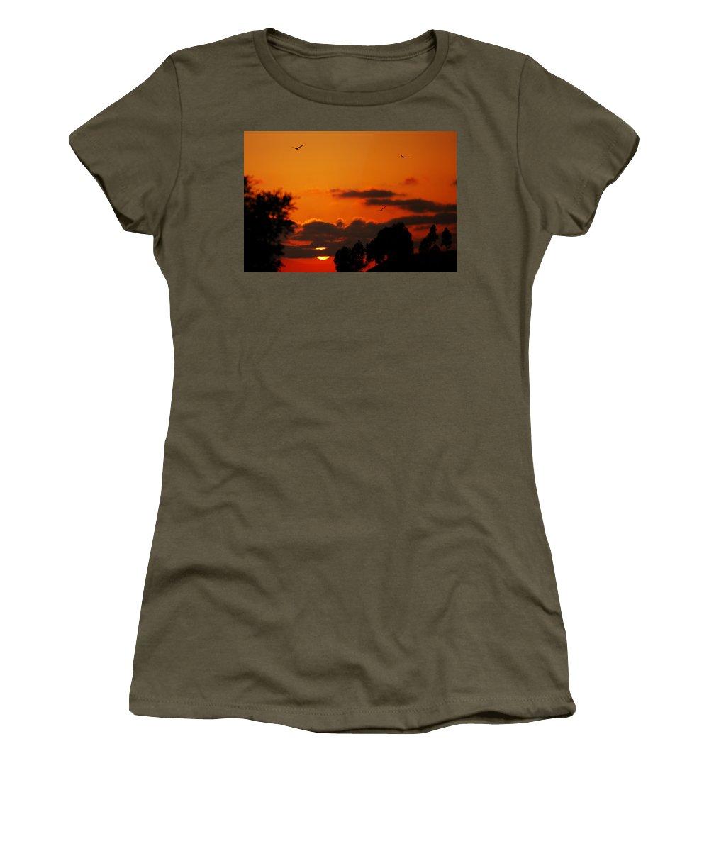 Sunset Women's T-Shirt featuring the photograph Sunset Birds by Jill Reger