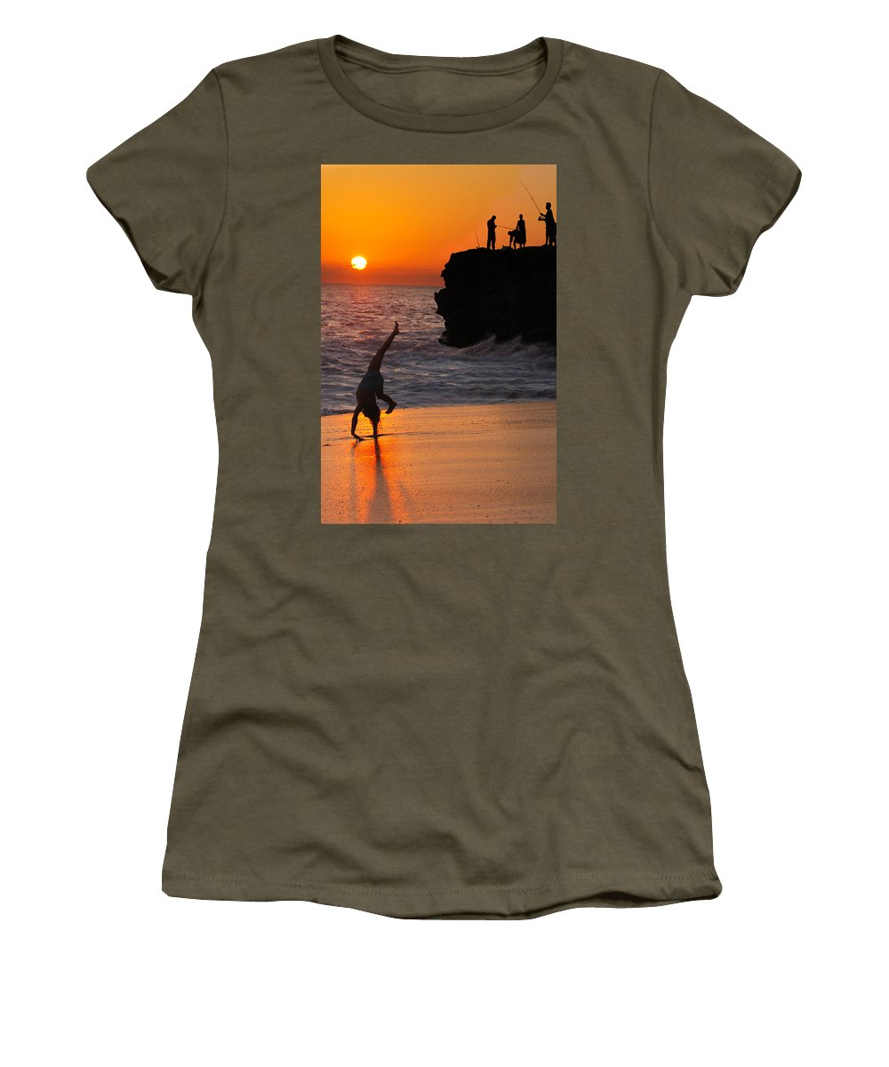 Beach Women's T-Shirt featuring the photograph Sunset Cartwheel by Jill Reger