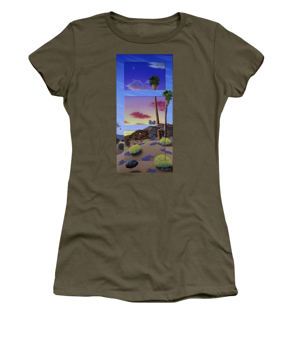Landscape Women's T-Shirt featuring the painting Sunset Door by Snake Jagger
