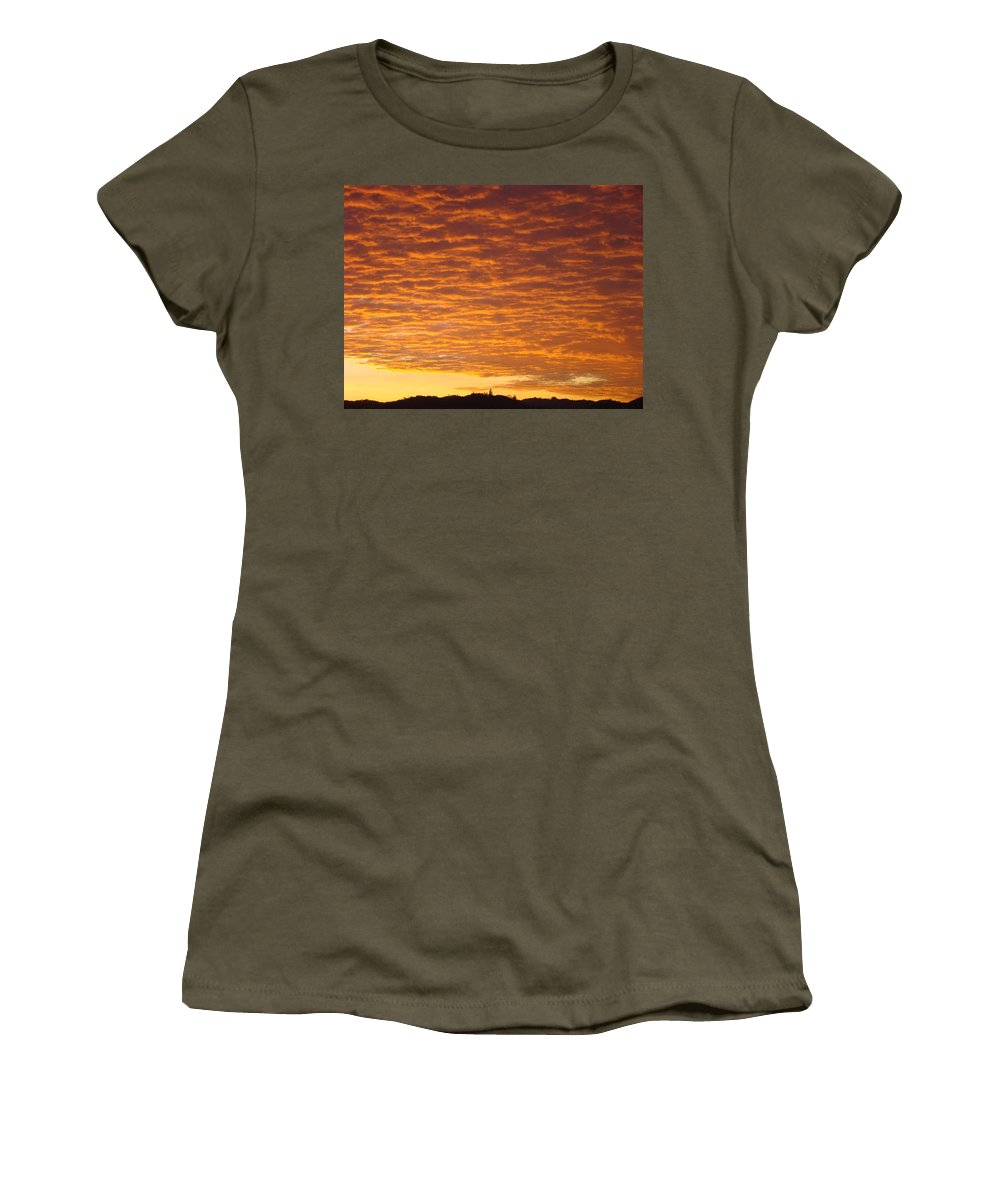 Sunset Women's T-Shirt (Athletic Fit) featuring the photograph Sunset Fiery Orange Sunset Art Prints Sky Clouds Giclee Baslee Troutman by Baslee Troutman