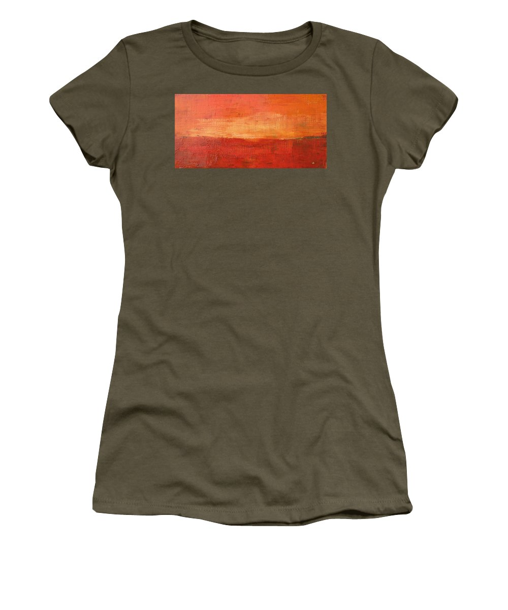 Abstract Women's T-Shirt featuring the painting Sunset by Habib Ayat