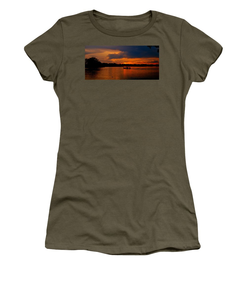 R�o Women's T-Shirt (Athletic Fit) featuring the photograph Sunset In Amazon River by HQ Photo