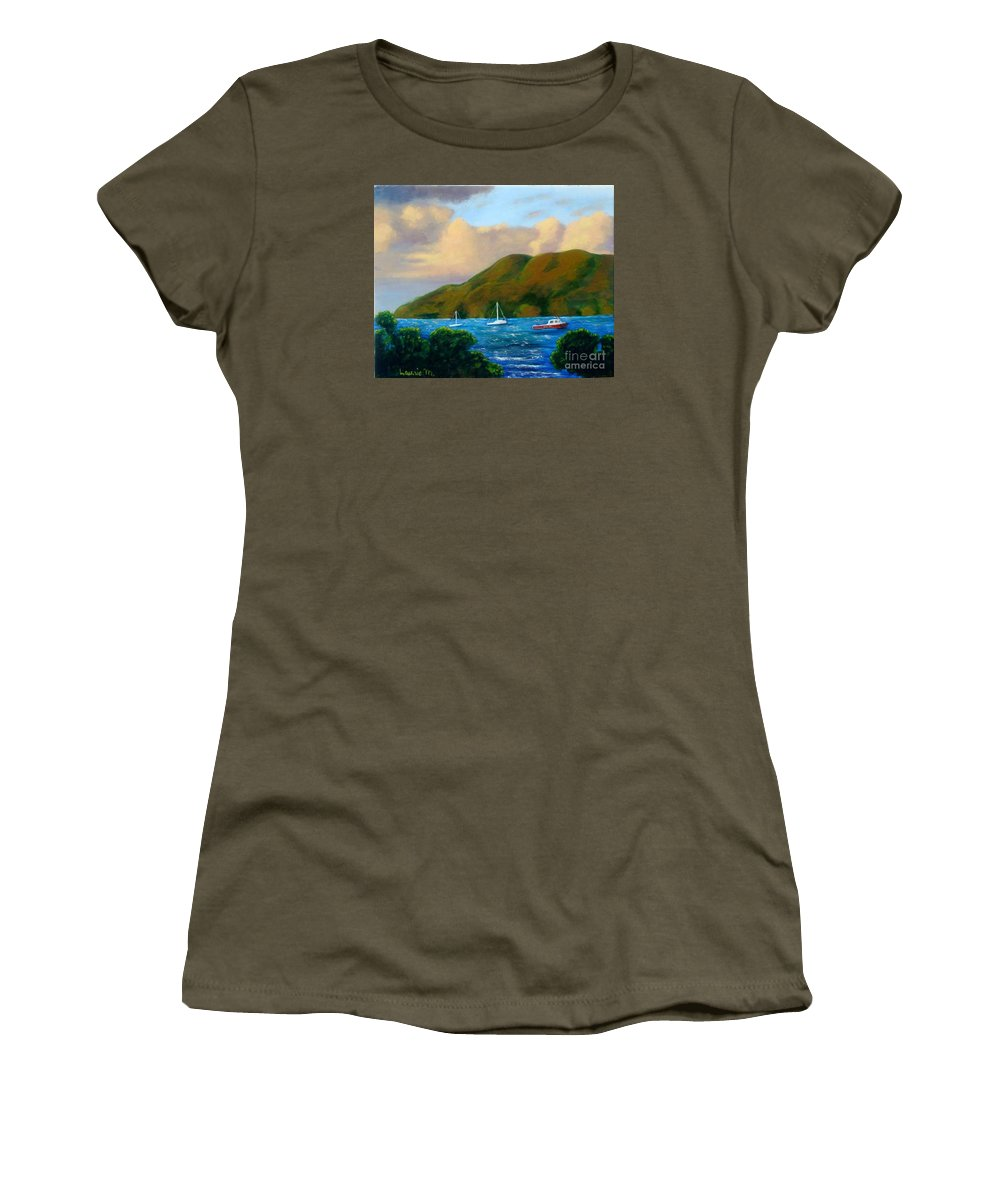 Sunset Women's T-Shirt (Athletic Fit) featuring the painting Sunset On Cruz Bay by Laurie Morgan