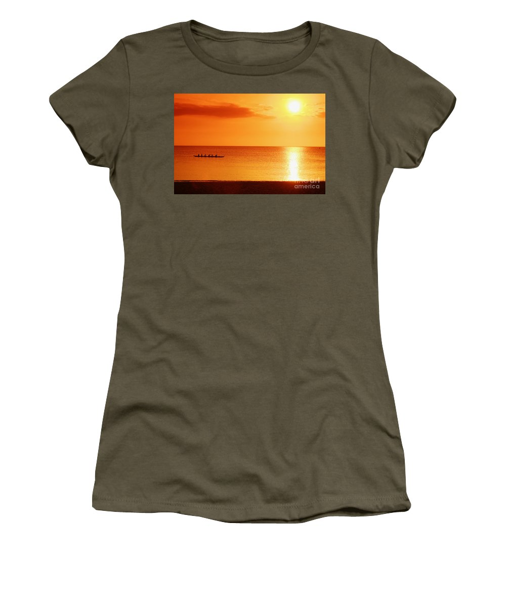 Boat Women's T-Shirt featuring the photograph Sunset Paddle by Vince Cavataio - Printscapes