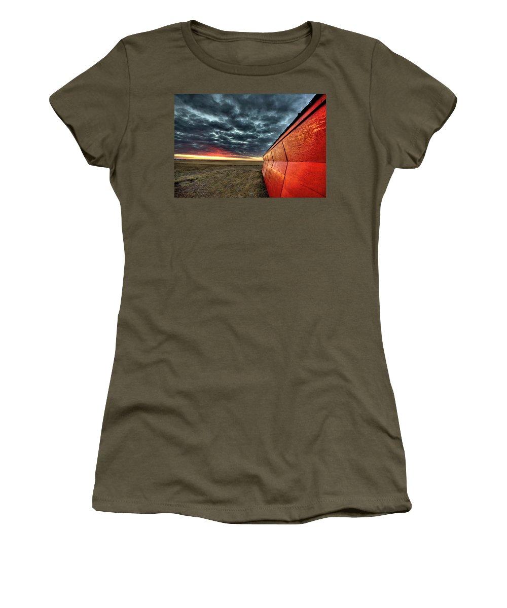 Sunset Women's T-Shirt featuring the digital art Sunset Saskatchewan Canada by Mark Duffy
