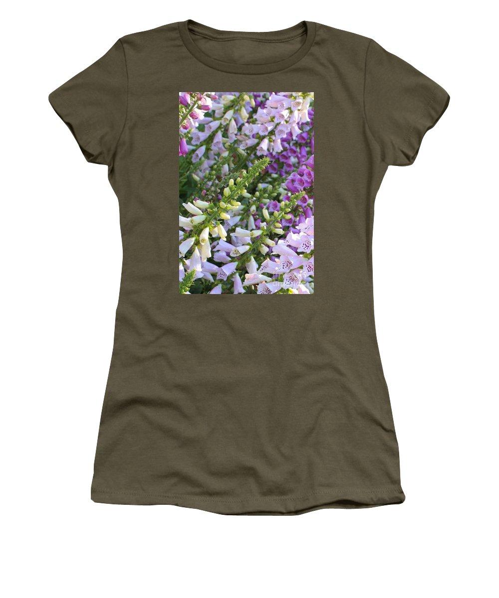 Foxgloves Women's T-Shirt featuring the photograph Sunshine On Foxgloves by Carol Groenen