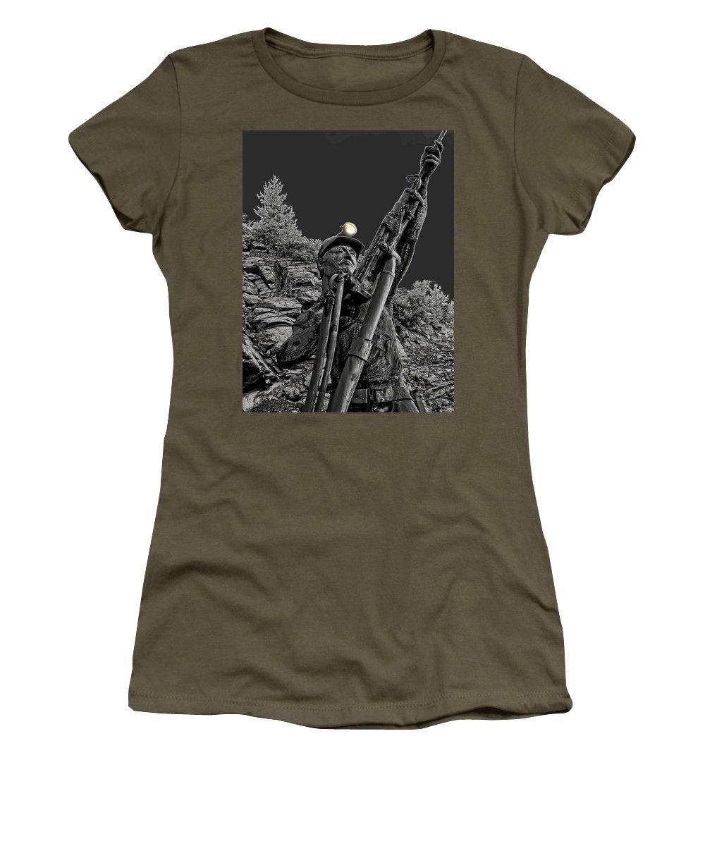 sunshine Mine Women's T-Shirt (Athletic Fit) featuring the photograph Sunshine Silver Mine Memorial - Kellogg Idaho by Daniel Hagerman