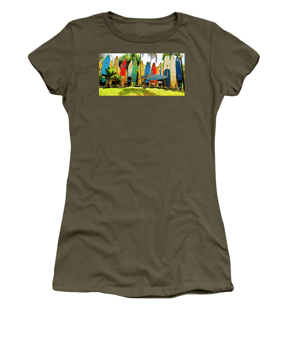 Surfboard Women's T-Shirt (Athletic Fit) featuring the photograph Surfboard Fence II-the Amazing Race by Jim Cazel