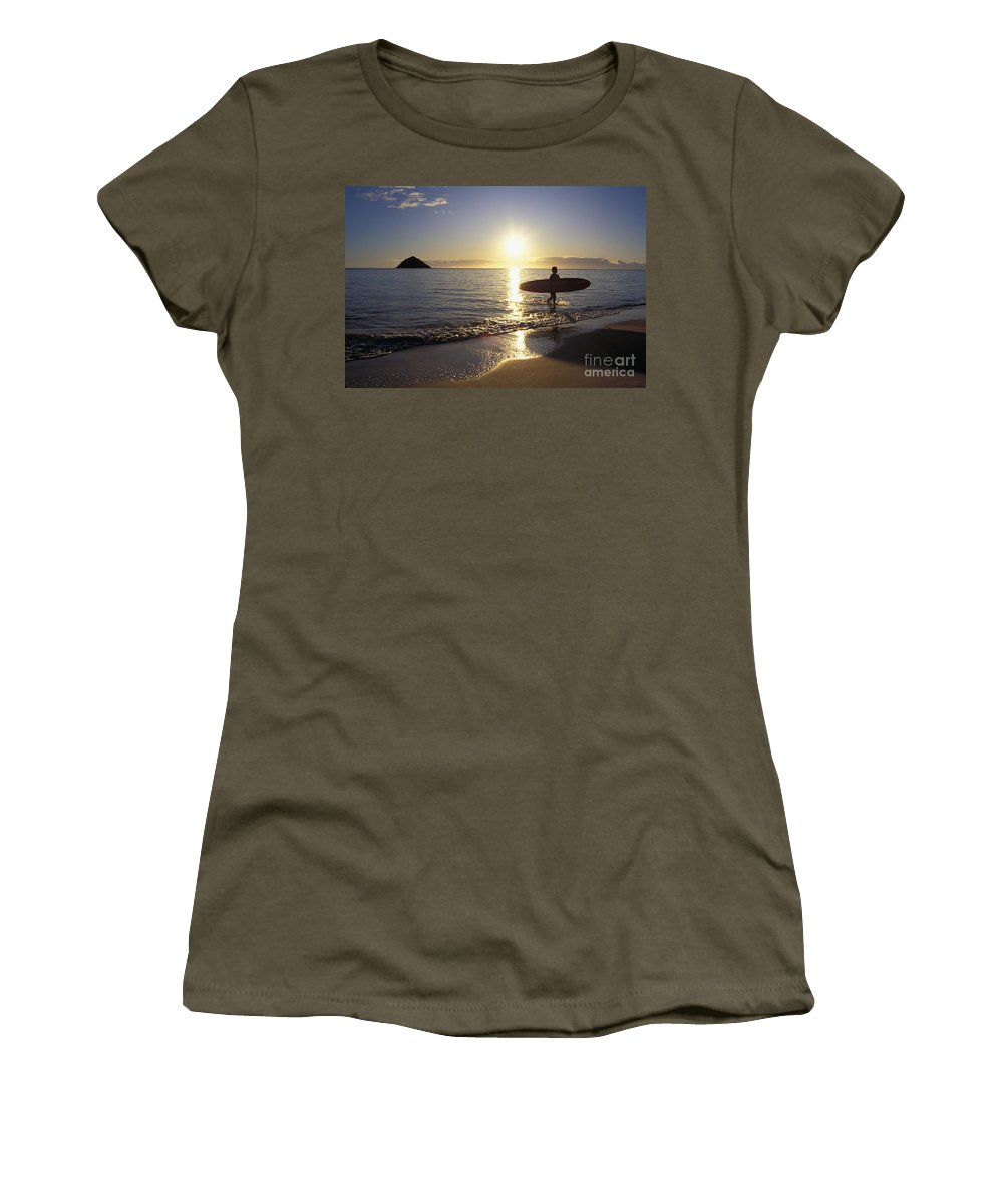 Ali O Neal Women's T-Shirt featuring the photograph Surfer At Sunrise by Ali ONeal - Printscapes