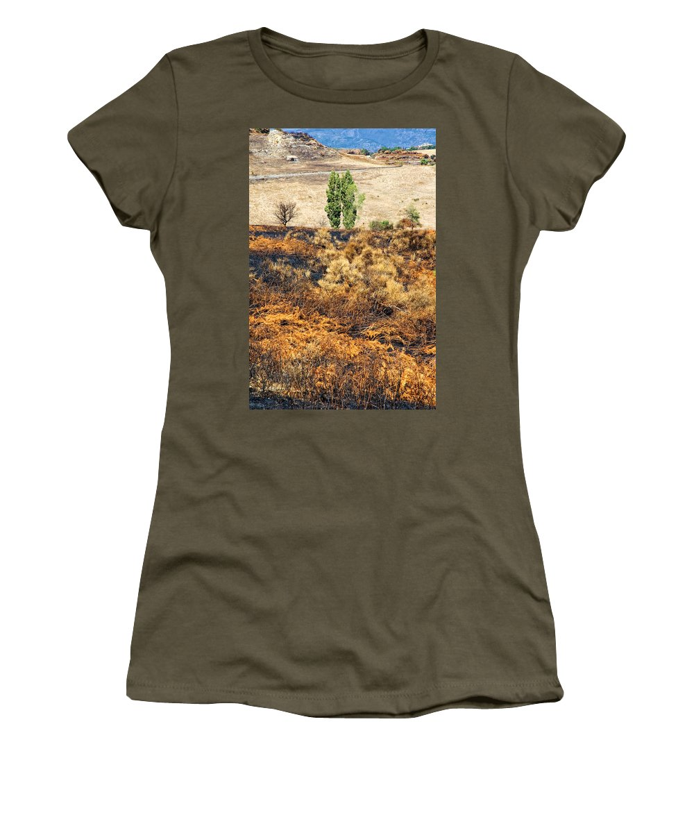 Hills Women's T-Shirt featuring the photograph Survivors - After The Fire by Silvia Ganora