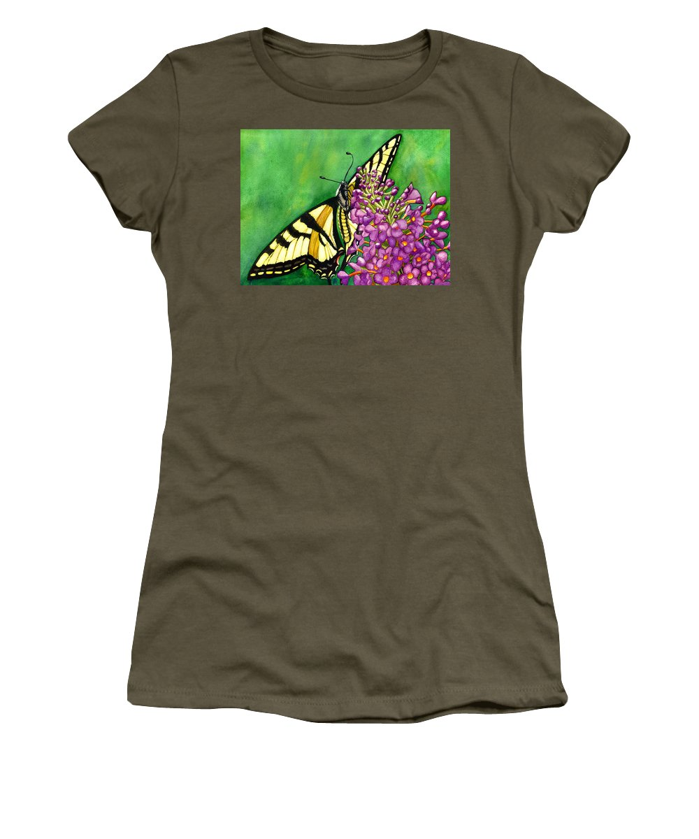 Butterfly Women's T-Shirt featuring the painting Swallowtail 1 by Catherine G McElroy
