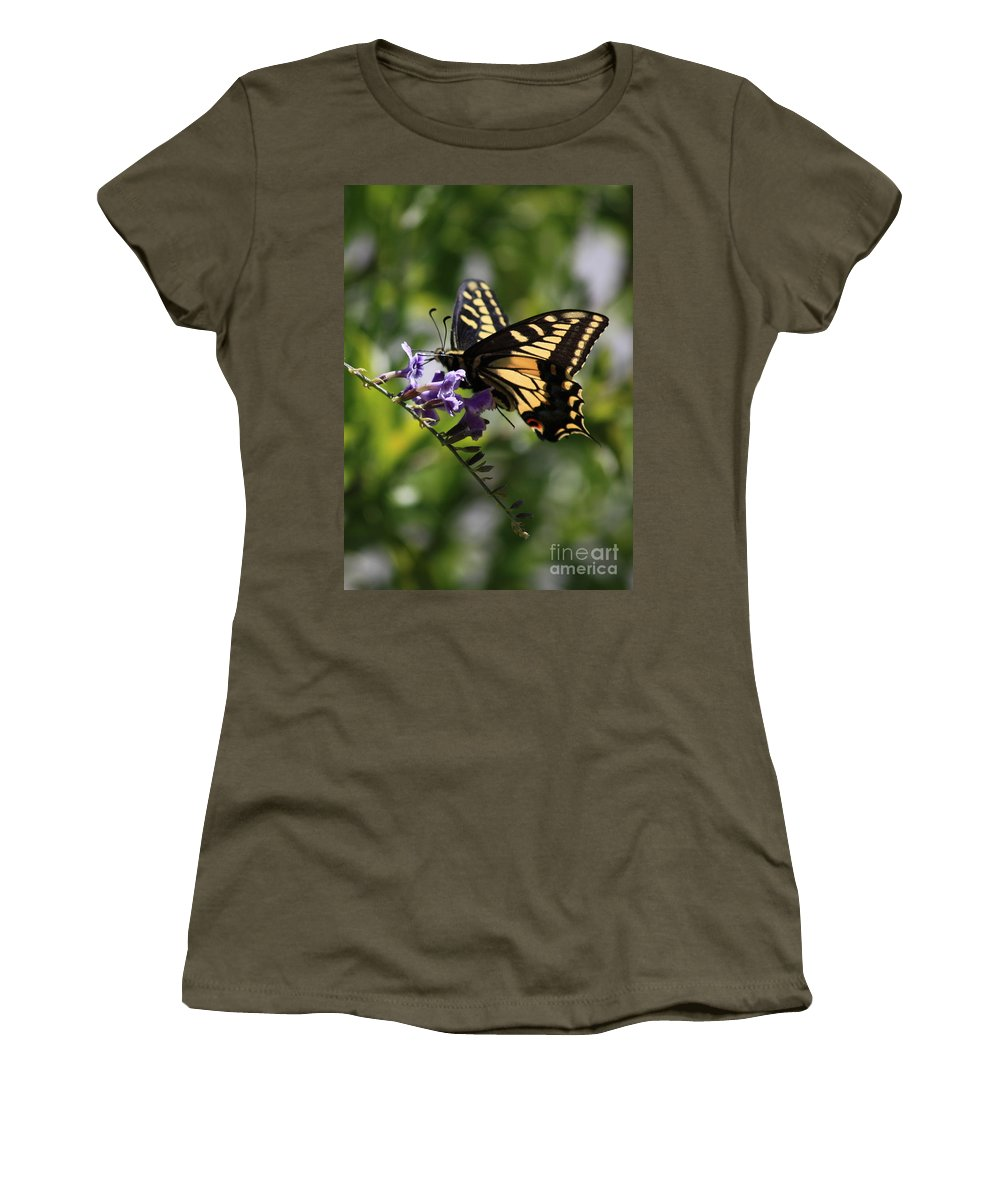 Swallowtail Butterfly Women's T-Shirt (Athletic Fit) featuring the photograph Swallowtail Butterfly 1 by Carol Groenen