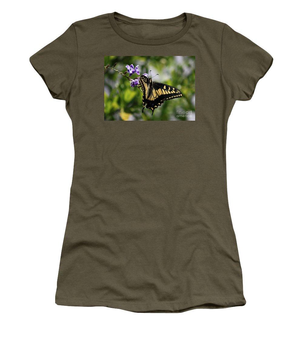 Swallowtail Butterfly Women's T-Shirt featuring the photograph Swallowtail Butterfly 2 by Carol Groenen