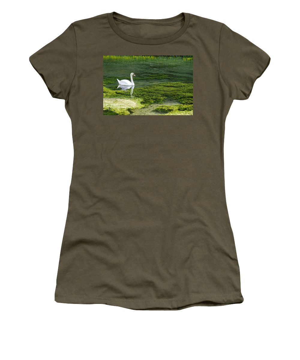 Lathkill Dale Women's T-Shirt featuring the photograph Swan On The River Lathkill by Rod Johnson