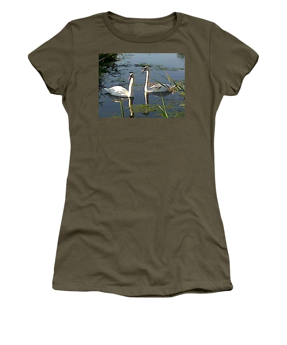 Swans Women's T-Shirt featuring the photograph Swans In The Sunshine by Susan Baker