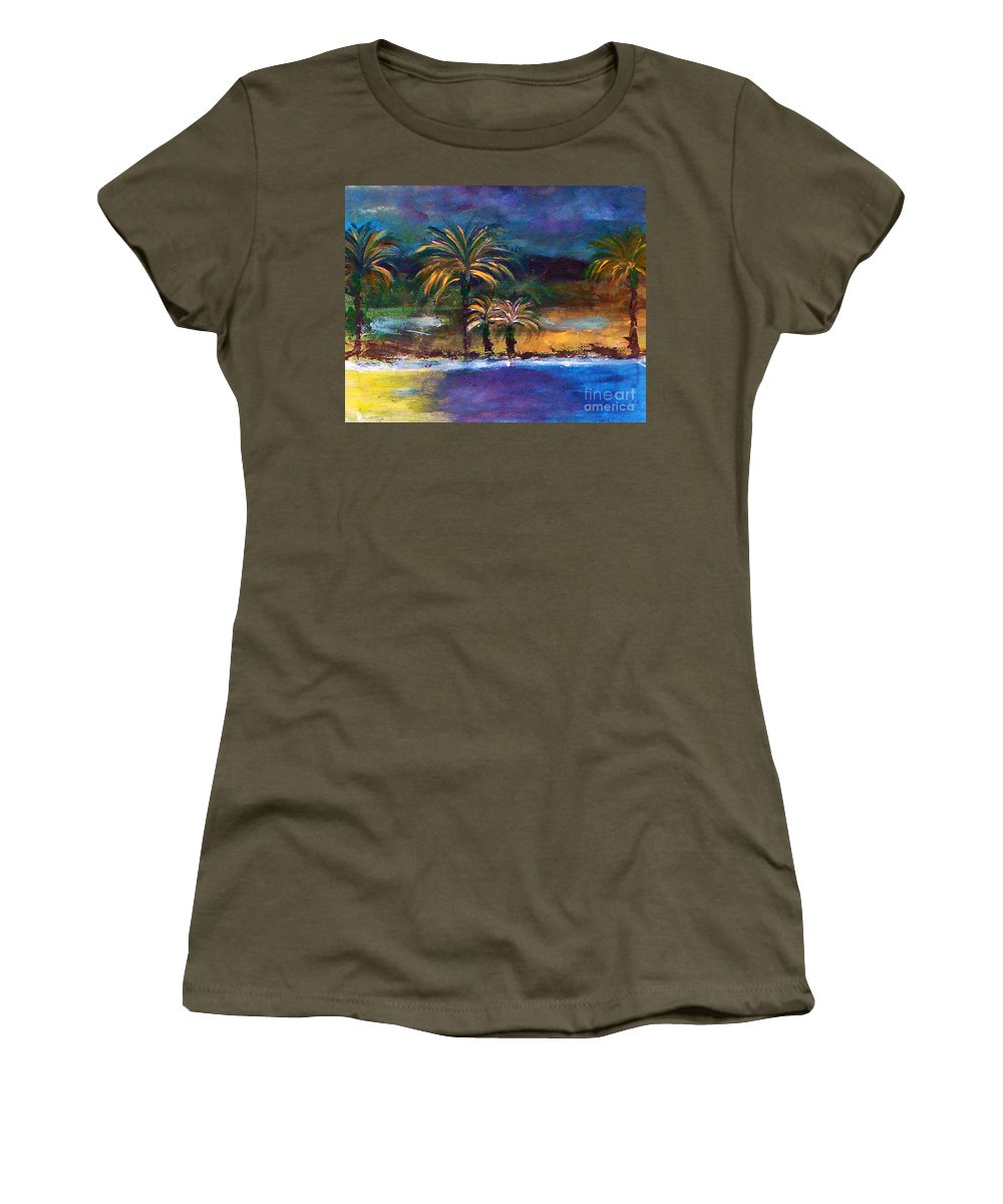 Acrylic Painting Women's T-Shirt (Athletic Fit) featuring the painting Sweet Escape by Yael VanGruber