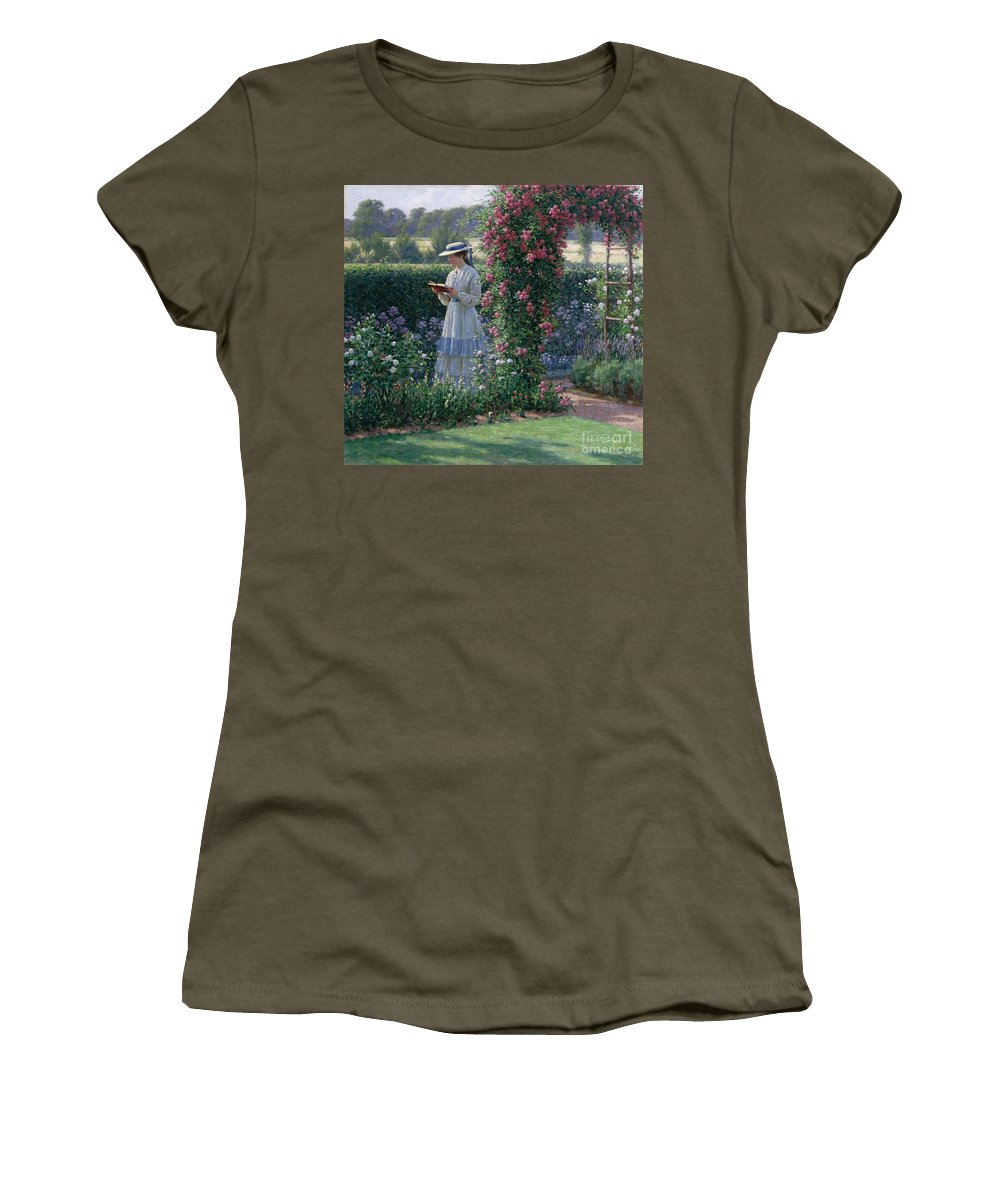 Garden; Reading; Book; Woman; Lawn; Flower;rose; Bed; Hedge; Climbing; Arch; Path Women's T-Shirt featuring the painting Sweet Solitude by Edmund Blair Leighton