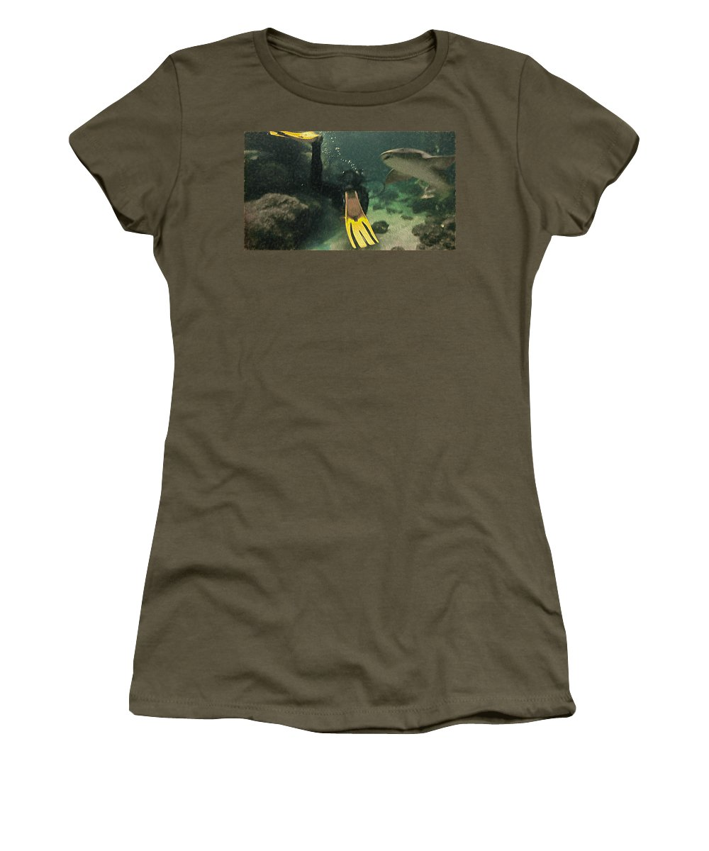Scuba Diver Women's T-Shirt (Athletic Fit) featuring the photograph Swimming With The Sharks by L Wright