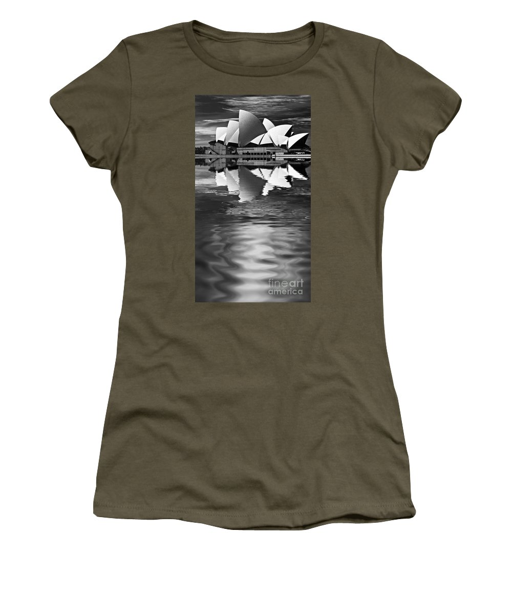 Sydney Opera House Monochrome Black And White Women's T-Shirt featuring the photograph Sydney Opera House Reflection In Monochrome by Sheila Smart Fine Art Photography