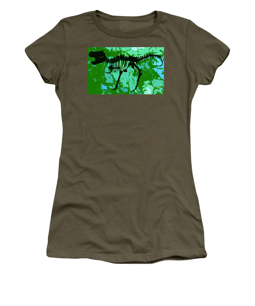 T Rex Women's T-Shirt (Athletic Fit) featuring the digital art T. Rex by David Lee Thompson