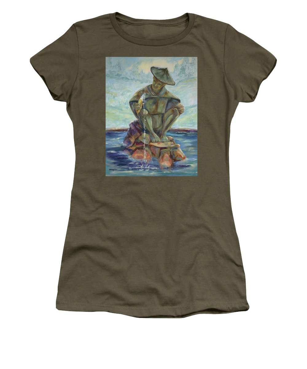 Landscape Women's T-Shirt featuring the painting Taipei Fountain by Ginger Concepcion