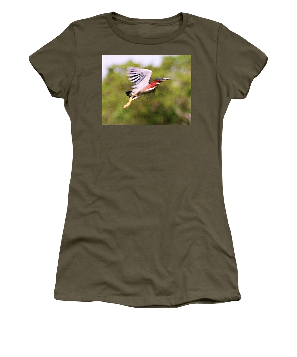 Wild Life Women's T-Shirt (Athletic Fit) featuring the digital art Take Off by Steve Karol