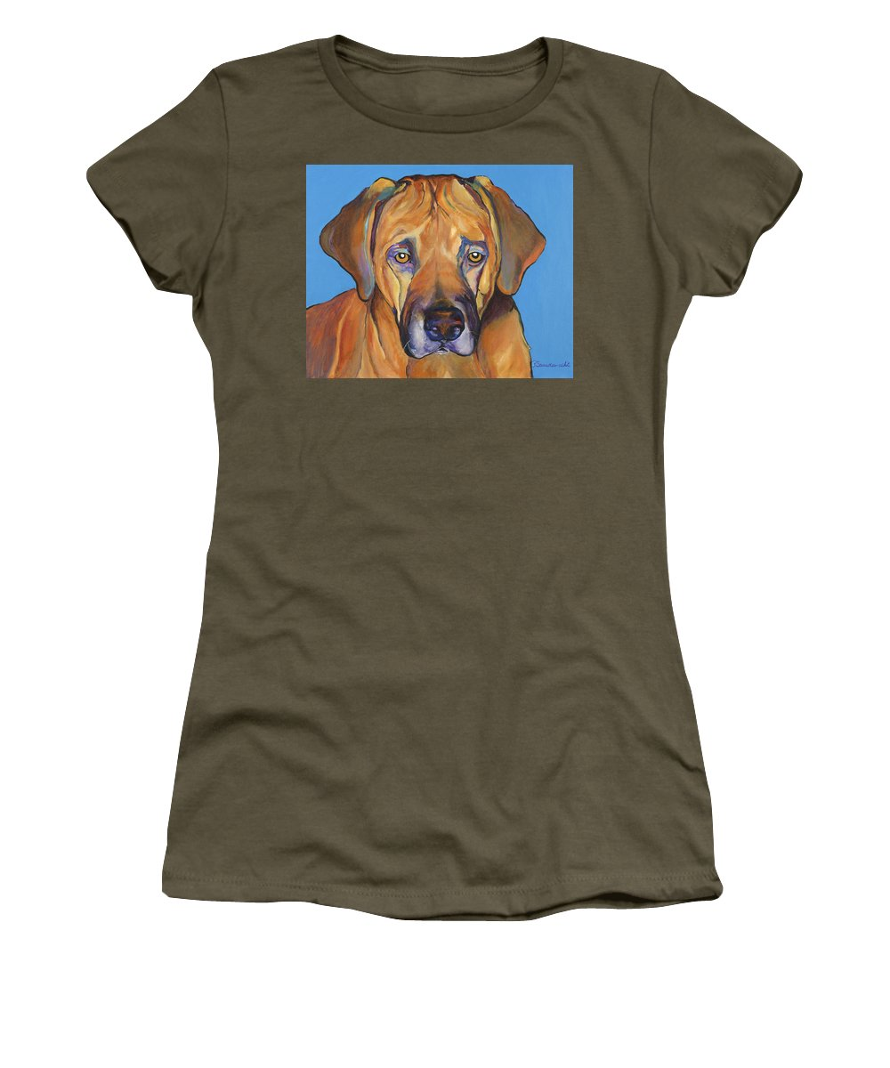 Rhodesian Ridgeback Dog Ridgeback African Colorful Orange Gold Yellow Red Women's T-Shirt featuring the painting Talen by Pat Saunders-White