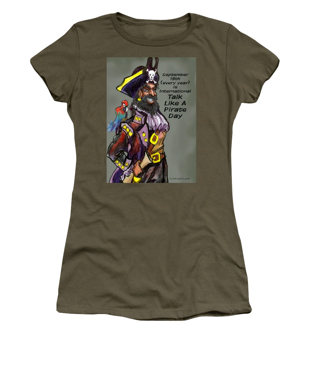 Pirate Women's T-Shirt featuring the greeting card Talk Like A Pirate Day by Kevin Middleton