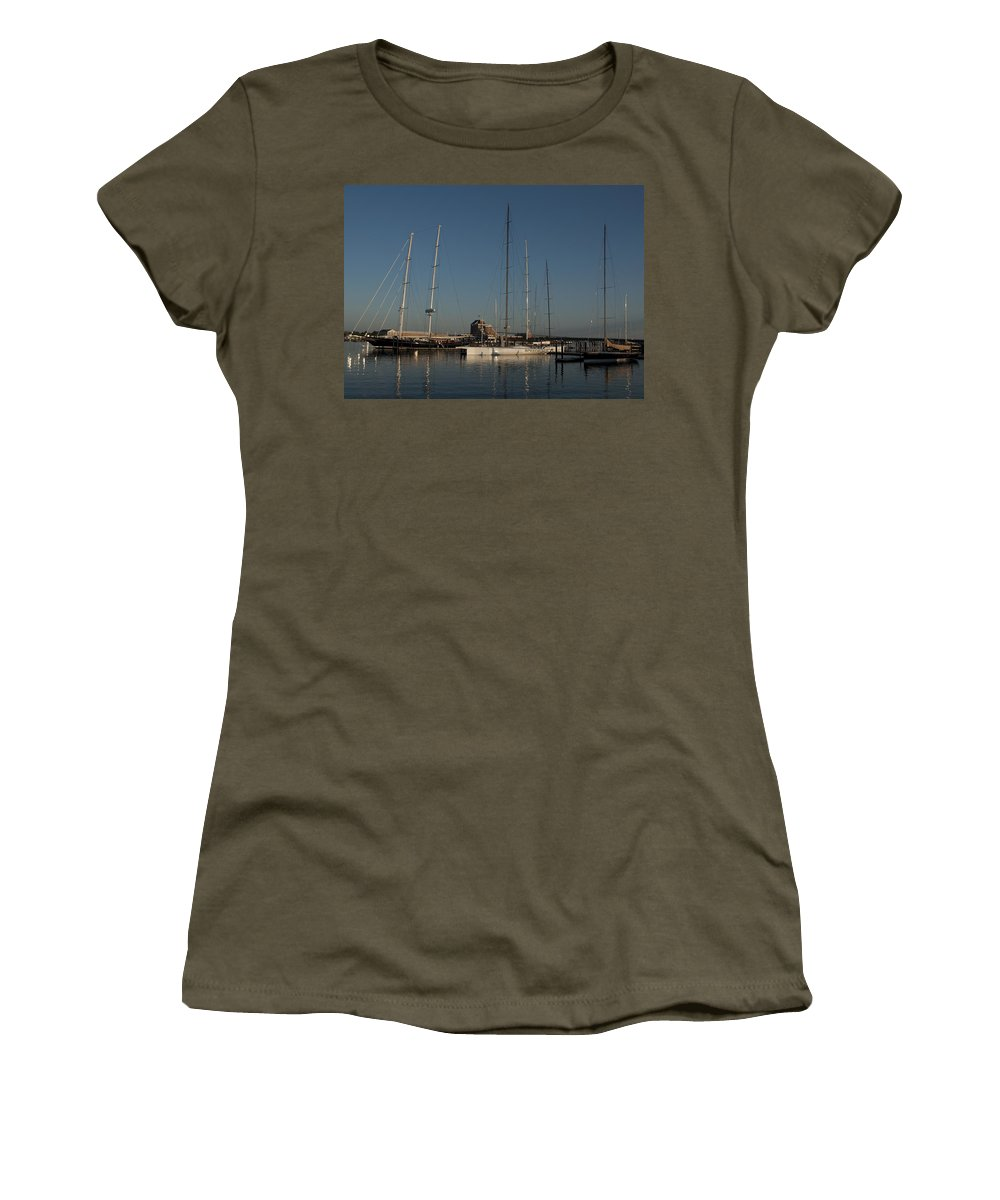 Schooner Women's T-Shirt featuring the photograph Tall Boats In The Morning by Steven Natanson