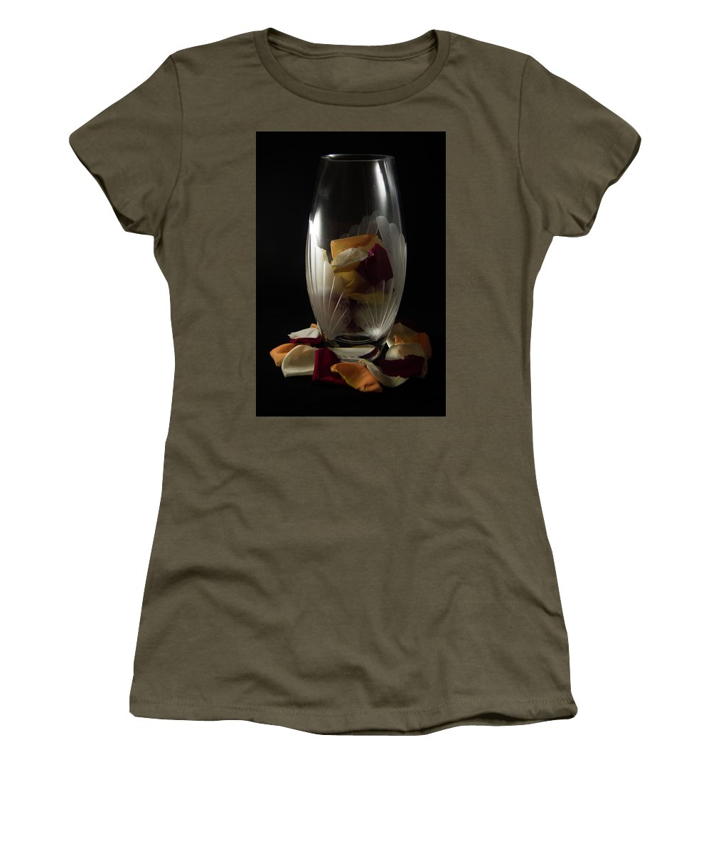 Closeup Women's T-Shirt featuring the photograph Tall Crystal Vase With Rose Petals by Jennifer Wick