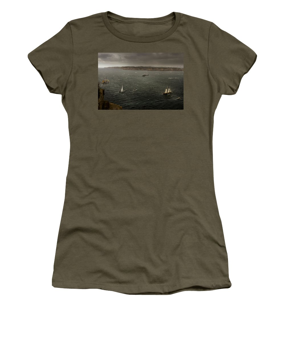 International Navy Fleet Review Women's T-Shirt (Athletic Fit) featuring the photograph Tall Ships In The Entrance Of Sydney Harbour by Miroslava Jurcik
