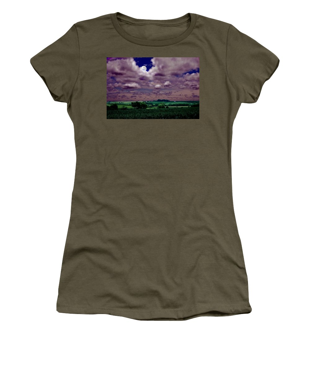 Landscape Women's T-Shirt (Athletic Fit) featuring the photograph Tarkio Moon by Steve Karol