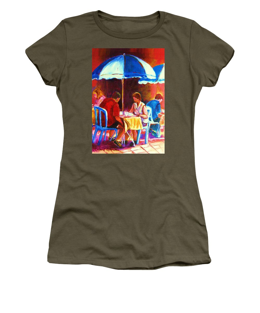 St. Denis Outdoor Cafe Montreal Street Scenes Women's T-Shirt featuring the painting Tea For Two by Carole Spandau