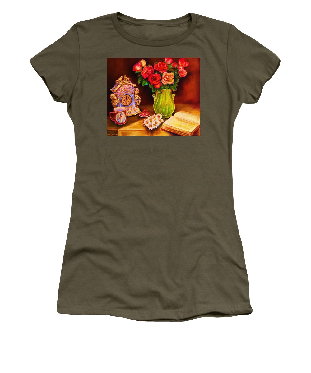 Impressionism Women's T-Shirt (Athletic Fit) featuring the painting Teacup And Roses by Carole Spandau