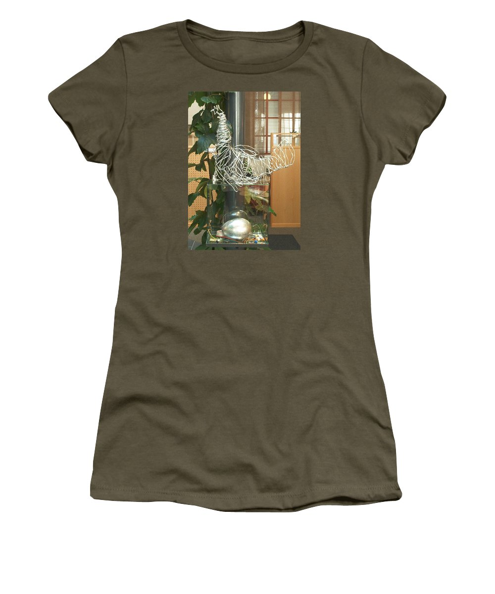 Women's T-Shirt (Athletic Fit) featuring the sculpture Techno Hen by Jarle Rosseland