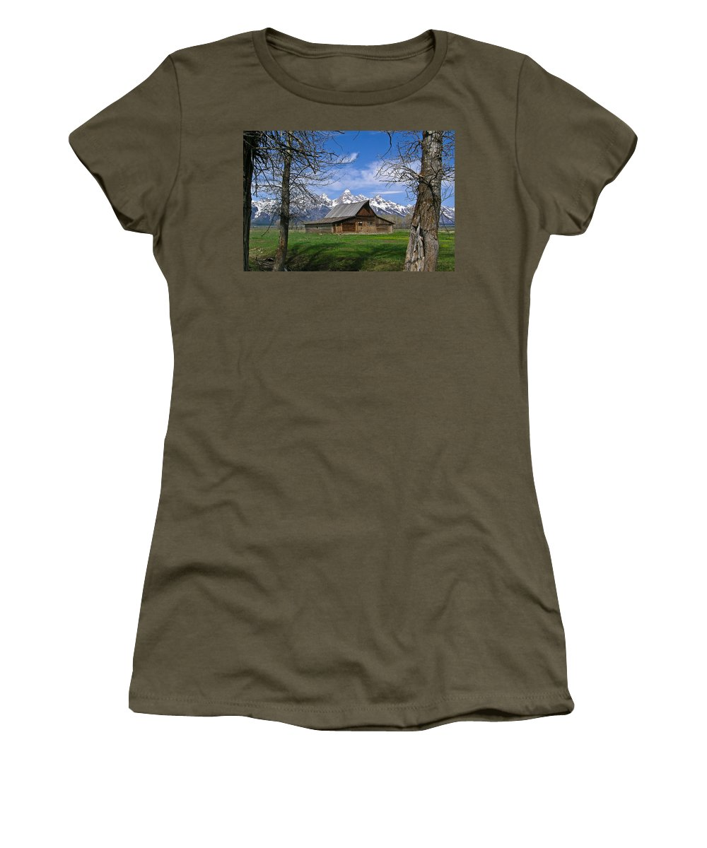 Teton Women's T-Shirt featuring the photograph Teton Barn by Douglas Barnett