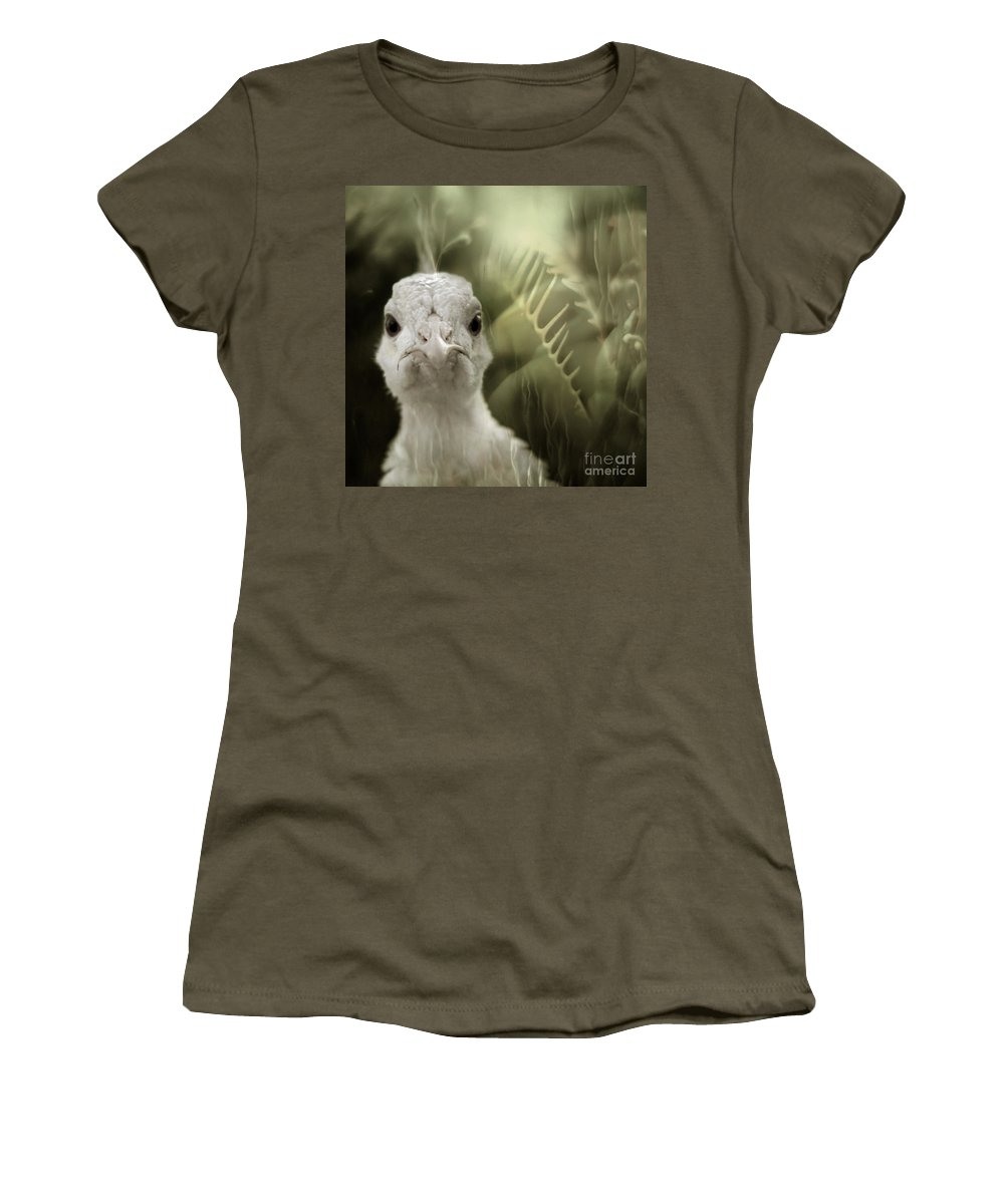 Peacock Women's T-Shirt (Athletic Fit) featuring the photograph Th White Peacock by Angel Tarantella